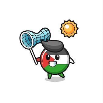 Palästina-flaggen-maskottchen-illustration fängt schmetterling, niedliches design für t-shirt, aufkleber, logo-element