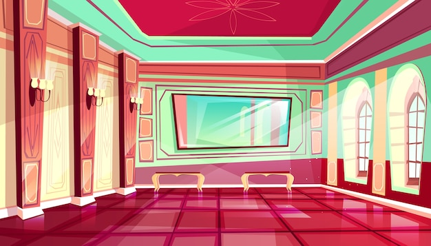 Palastballsaalillustration der königlichen halle des mittelalterlichen luxusschlosses.