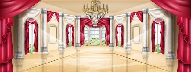 Palastinnenraumvektorhintergrund schlosssaal klassischer marmorballsaalillustrationsbogenfenster