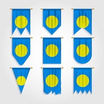 Palau flagge in verschiedenen formen, flagge von palau in verschiedenen formen
