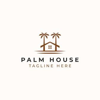 Palm resort logo vorlage in weißem hintergrund isoliert