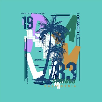 Palm springs sommer los angeles surf typografie t-shirt grafiken vektoren