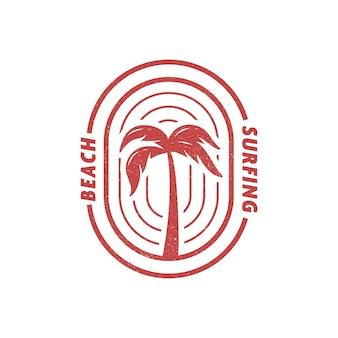 Palm tree beach surfing logo-abzeichen auch gut für die illustration von t-shirts