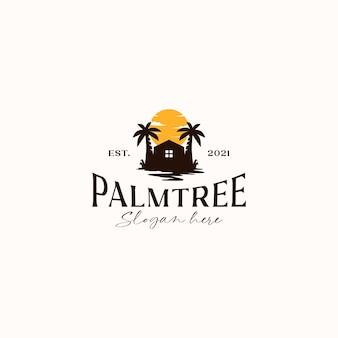 Palm tree resort sonnenuntergang logo vorlage in weißem hintergrund isoliert