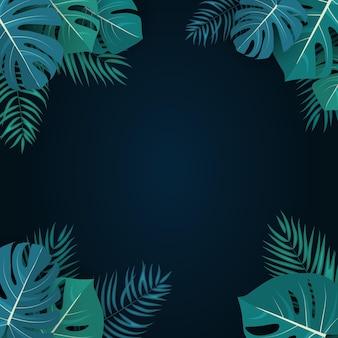 Palm und monstera verlässt natürlichen sommerhintergrund illustration
