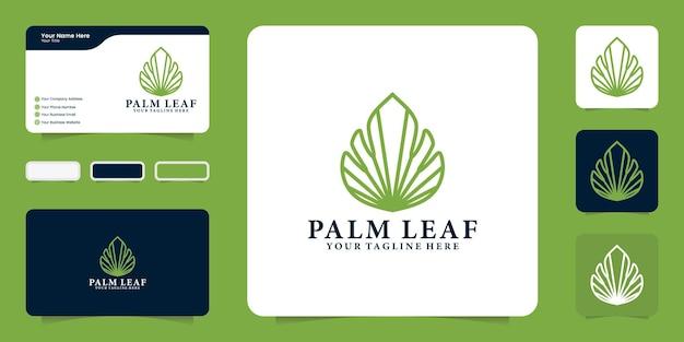 Palmblatt-logo im eleganten und luxuriösen linienstil mit visitenkarten-inspiration