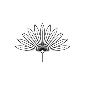 Palmblatt-symbol im trendigen minimalen liner-stil. vektor getrocknetes tropisches blatt-emblem. boho floral illustration zum erstellen von logos, mustern, t-shirt-drucken, tattoo-design, social media post und stories