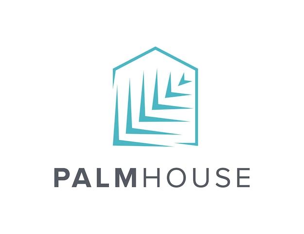 Palmblatt und hausumriss einfaches schlankes kreatives geometrisches modernes logo-design