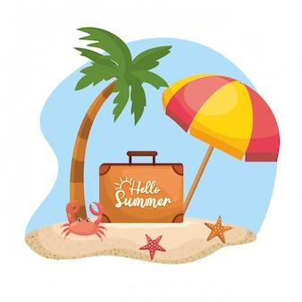 Palme mit regenschirm und aktentasche mit krabben und seesternen