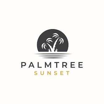 Palme mit sonnenuntergang-logo-vorlage.