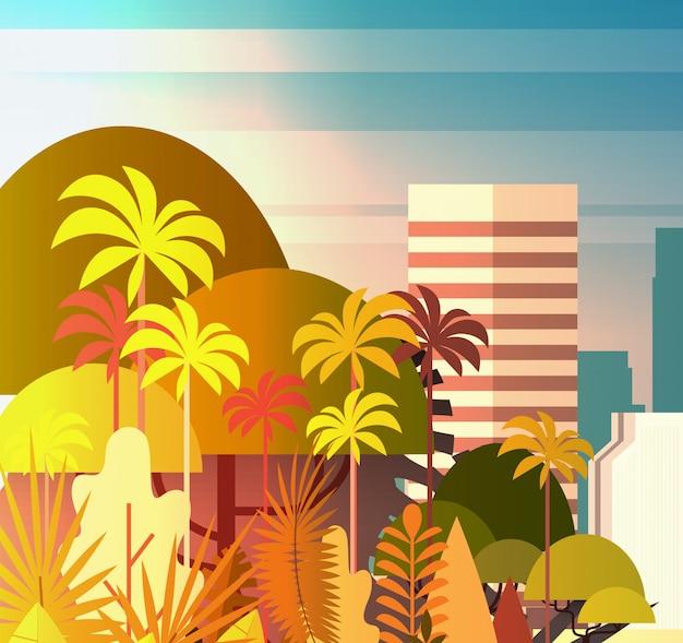 Palme-park über stadt-gebäude-wolkenkratzerillustration sommer-stadtbild auf sonnenuntergang-ansicht