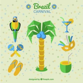 Palme und karneval elemente aus brasilien