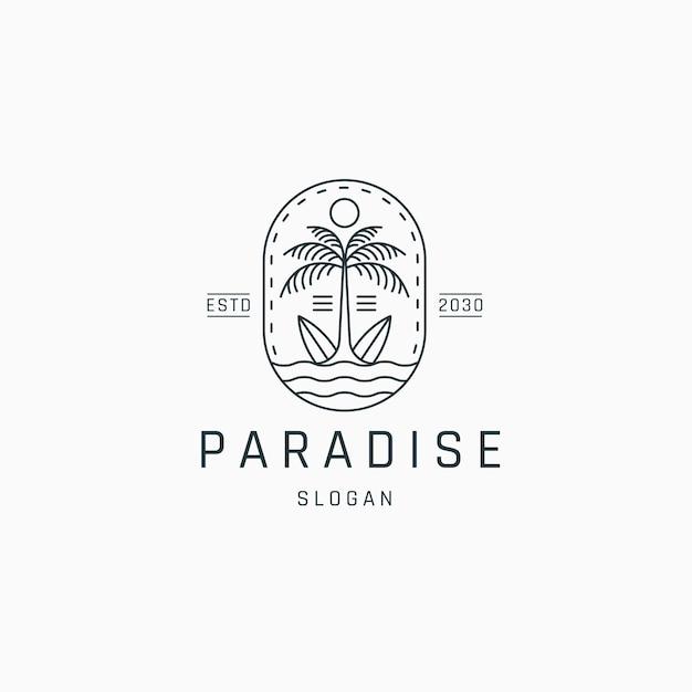 Palme und surfbrett logo icon design vorlage flacher vektor