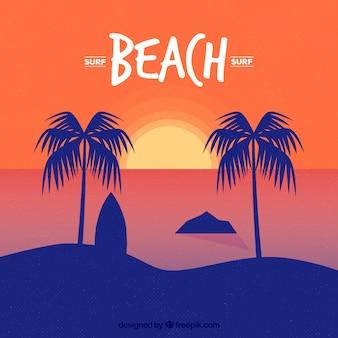 Palmen bei sonnenuntergang mit surfboard hintergrund
