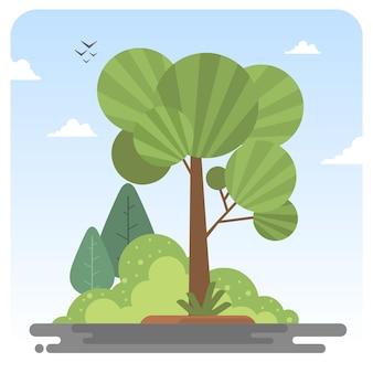 Palmen garten park illustration landschaft blauer himmel
