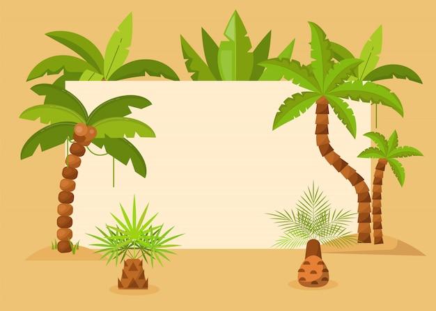 Palmen gestalten vektorillustration. tropischer hintergrund des sommers mit exotischem palmblatt- und baumrahmen. merken sie den termin vor. reiseflyer, party einladung, ökologische ankündigung.