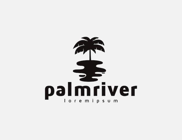 Palmen- und flusslogoillustration