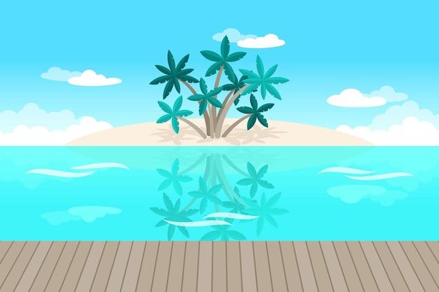 Palmen und ozeanhintergrund für videokommunikation