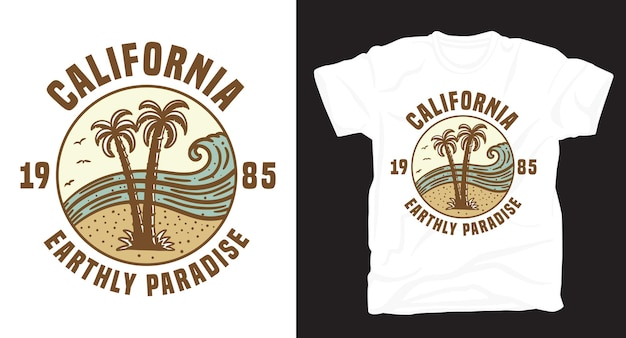 Palmen- und strandweinleseillustration mit typografie-t-shirt-design