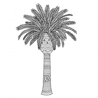Palmen-zentangle-stil, malvorlagen