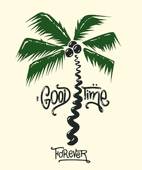 Palmendruck mit slogan für t-shirt-grafik und andere verwendungen.