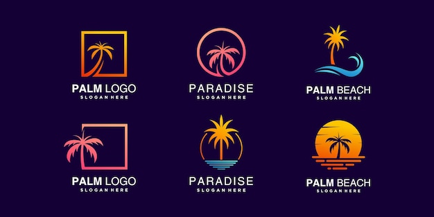 Palmenlogosammlung mit kreativem elementkonzept premium-vektor