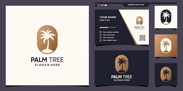 Palmenlogoschablone mit negativem raumkonzept und visitenkartendesign premium-vektor