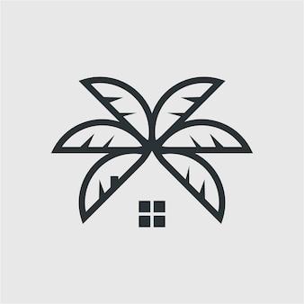 Palmensymbole auf weißen hintergrundelementen für logo-emblem-zeichen-menüillustration