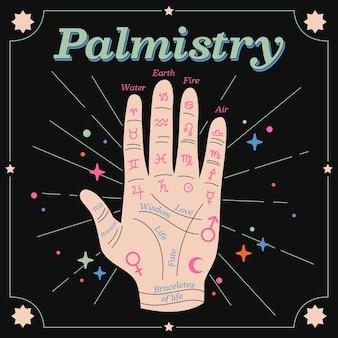 Palmistry-konzept mit elementen
