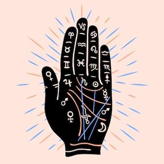 Palmistry-konzept mit symbolen