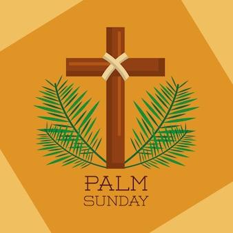 Palmsonntag heiliges kreuz verzweigt dekoration
