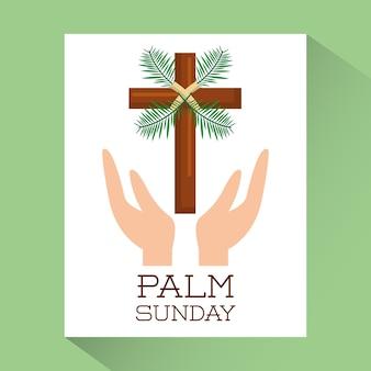 Palmsonntaghände mit religiösem plakat des kreuzes