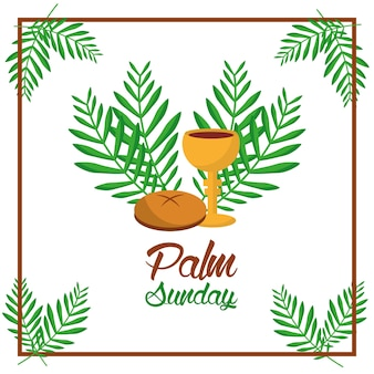 Palmsonntagsbrotschale und blätter baumrahmendekoration