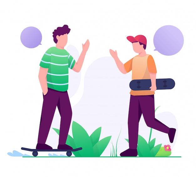 Palyer skateboard treffen auf park illustration