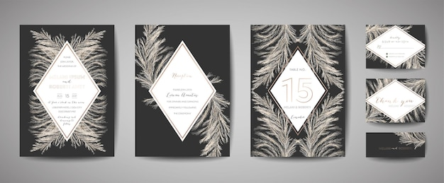 Pampas-gras-weinlese-hochzeit save the date, einladungs-blumenkarten-sammlung mit goldfolien-rahmen. trendiges cover des vektors, grafisches poster, retro-broschüre, designvorlage