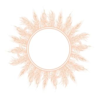 Pampasgras-kartenschablone mit kopienraum. vektor-illustration. silbernes goldenes rundes kreisabzeichen. florales ziergras. vektor-illustration.