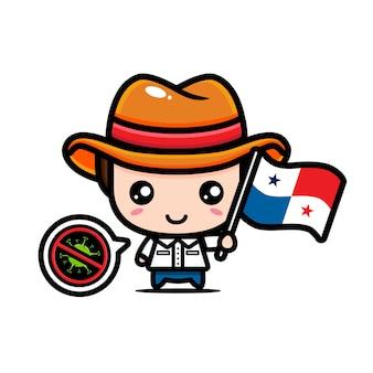 Panama-junge mit flagge gegen virus
