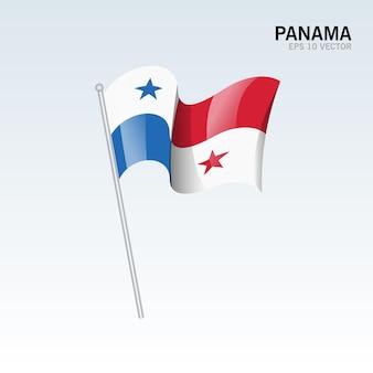 Panama wehende flagge isoliert auf grau