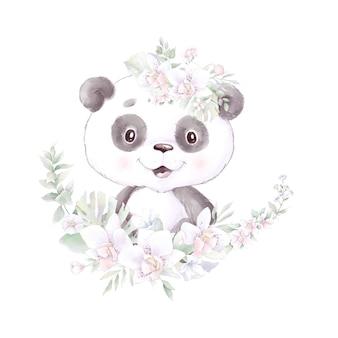 Panda, aquarellillustration isoliert