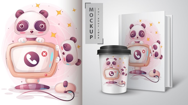 Panda arbeitet am computer illustration und merchandising.