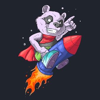 Panda auf dem raketenillustrationsvektor