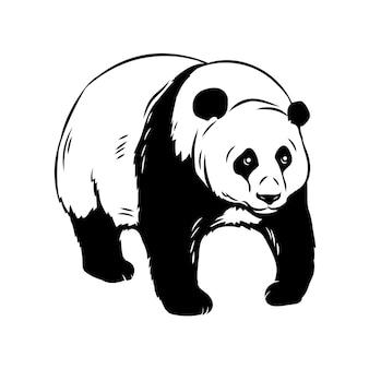 Panda bärenikone. zootierabzeichen schwarze illustration.