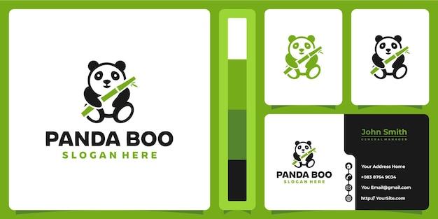 Panda bambus niedliches logo mit visitenkartenentwurf
