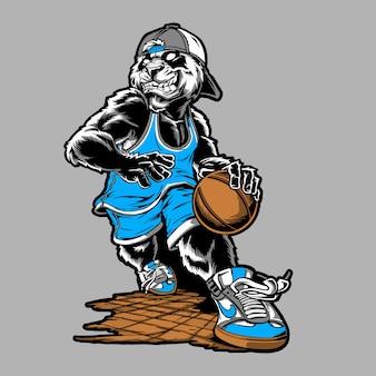 Panda basket ball handzeichnung