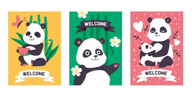 Panda bearcat chinesischer bär mit spielendem oder schlafendem illustrationsbambushintergrund