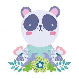 Panda blumen blätter cartoon niedlichen tierfiguren natur