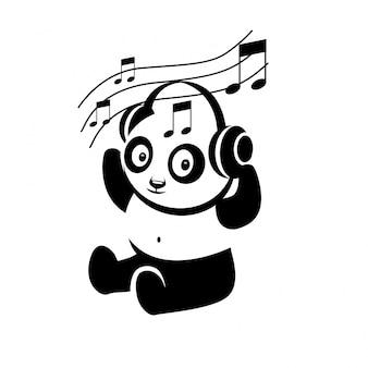 Panda cartoon hören ein lied vom kopfhörer