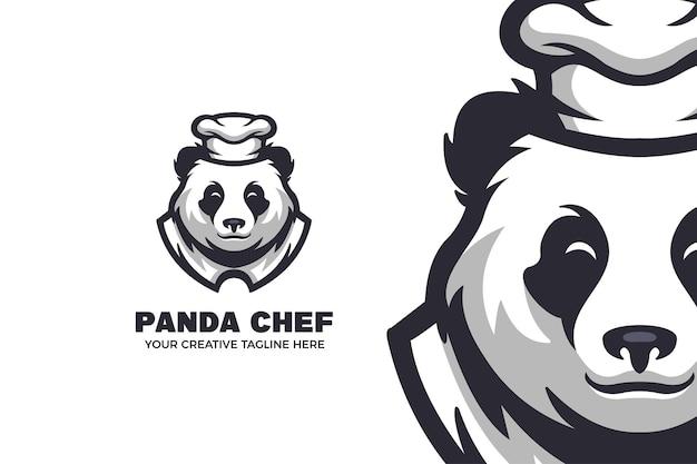 Panda-chef-karikatur-maskottchen-logo-vorlage