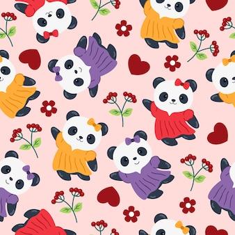 Panda cute cartoon nahtloses muster mit blume