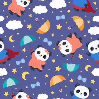 Panda cute cartoon nahtloses muster mit regenschirm